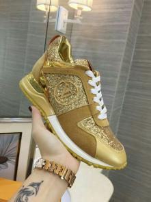 louis vuitton run away sneakers femmess price top layer cowhide with sequins gold