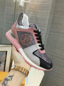 louis vuitton run away sneakers femmess price top layer cowhide with sequins pink black