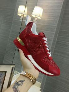 louis vuitton run away sneakers femmess price top layer cowhide with sequins red