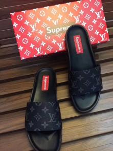 louis vuitton slippers cheap classic old flower supreme black