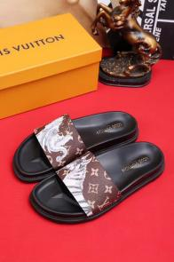 louis vuitton slippers cheap old graffiti brown