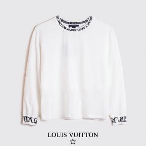 louis vuitton sweat femme  homme round col blanc
