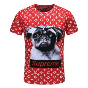 louis vuitton t-shirt short for sale red supreme dog
