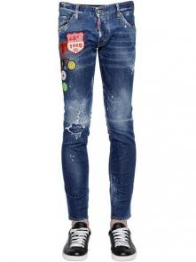 hommes dsquared2 jean en denim de coton 1995 logo patch cotton