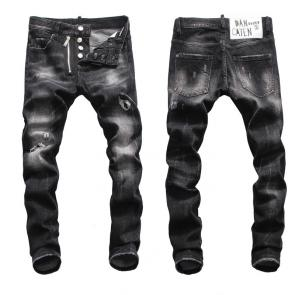 hommes dsquared2 jean en denim de coton black hole zipper