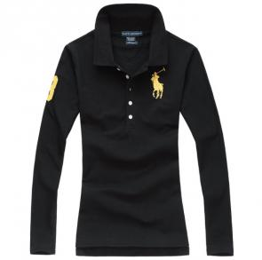 long sleeves t-shirt ralph lauren multicolor black orange pony