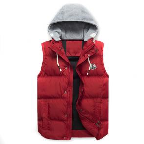 moncler down jacket without sleeves mc10228 hoodie red