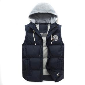 moncler down jacket without sleeves mz201229 hoodie blue