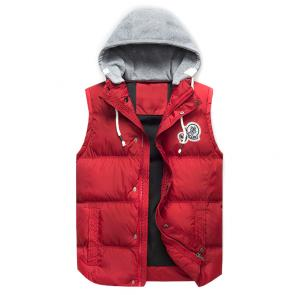 moncler down jacket without sleeves mz201229 hoodie gray red