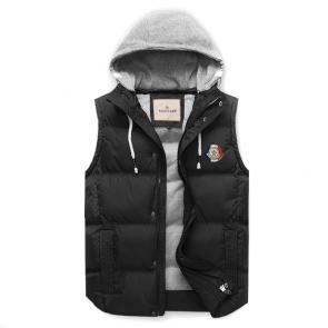 moncler down jacket without sleeves hoodie classic black