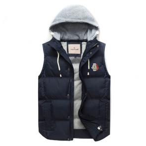 moncler down jacket without sleeves hoodie classic blue