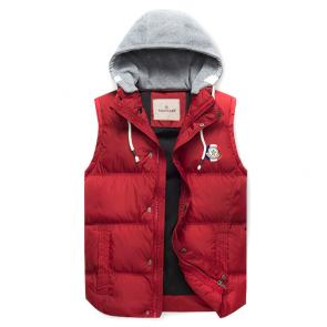 moncler down jacket without sleeves hoodie classic red