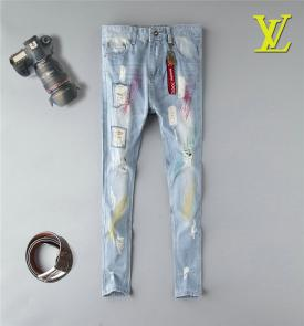 pantaloni louis vuitton uomo jeans patch denim ripped jeans 4785