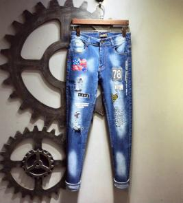 pantaloni louis vuitton uomo jeans ripped jeans embroidery 6156