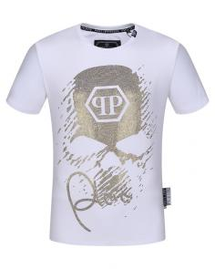 philipp plein couture t-shirt round neck iron man qp blanc