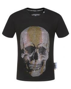 philipp plein couture t-shirt round neck qp19330 skull gold