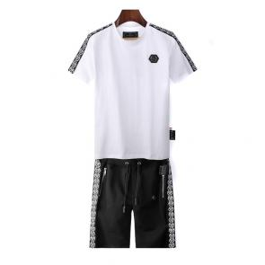 philipp plein ensemble jogging short sleeve qp logo white black