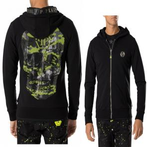 philipp plein sweat a capuche jacket yellow skull back