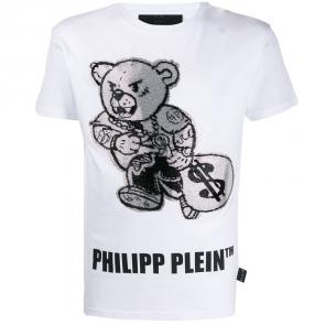 philipp plein t shirt mens sale teddy bear logo dollar white