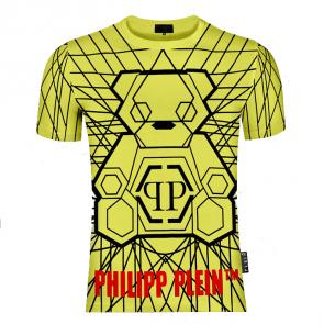 philipp plein t shirt mens sale rhinestone yellow