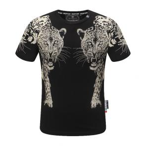 philipp plein t shirt new haute qualite cotton double leopard