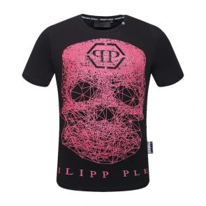 philippe plein t-shirt alec monopoly weezer rouge skull