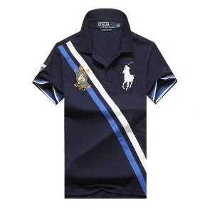 polo ralph lauren t shirt hommess lapel stripe big polo blue