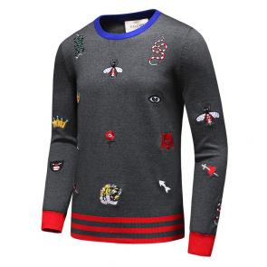 pulls gucci sweat-shirt en coton snake bee gray