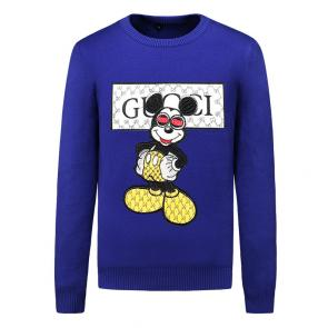 pulls gucci sweat-shirt en coton knitted sweater mickey mouse blue