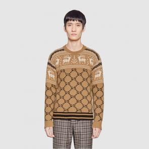 pulls gucci sweat-shirt en coton wool sweater reindeer jacquard