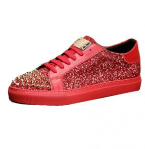 chaussures philippe mode rivets rouge cuir