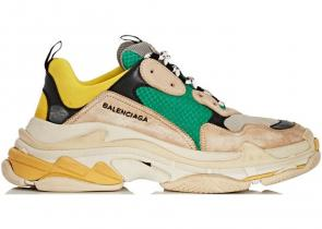 sneakers chaussure de balenciaga mode beige-green-yellow