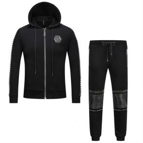 sport philipp plein jogging zipper two piece jacket hot drill skull