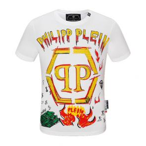 t-shirt philipp plein requin col rond qp dollar fire star