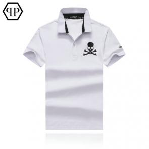 tennis philipp plein polo t-shirt embroidery skull blanc