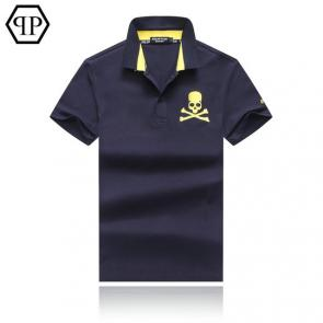 tennis philipp plein polo t-shirt embroidery skull blue