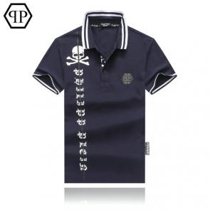 tennis philipp plein polo t-shirt qp logo skull blue