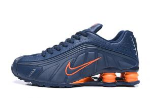 trainers nike shox r4 men shoes deep blue orange