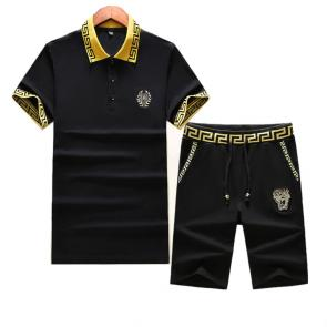 versace Tracksuit manches courtes collection badge black