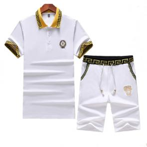 versace Tracksuit manches courtes collection badge white