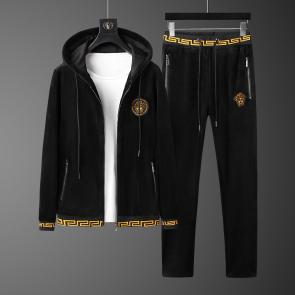 versace jogging homme jeans couture hoodie double faced velvet black v2019