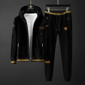 versace jogging homme jeans couture hoodie double faced velvet black v2022