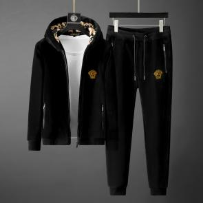 versace jogging homme jeans couture hoodie double faced velvet black v2023