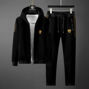 versace jogging homme jeans couture hoodie double faced velvet black v2024