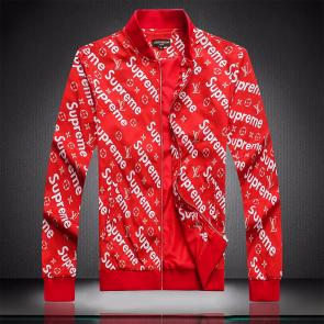jacket capuche embroidered louis vuitton supreme red
