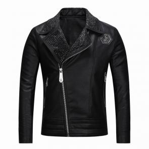 veste philipp plein femmes hommes leather bomber grand collier