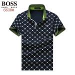 boss orange tipped collar polo shirt diamond lattice blue
