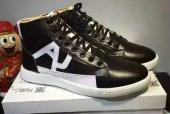 baskets en cuir man armani jeans high black