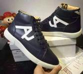 baskets en cuir man armani jeans high blue