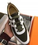chaussure bateau hermes sneakers miles cuir et une toile green